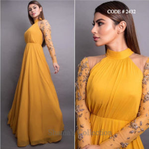 2432 Mouni Roy Mustard Gown