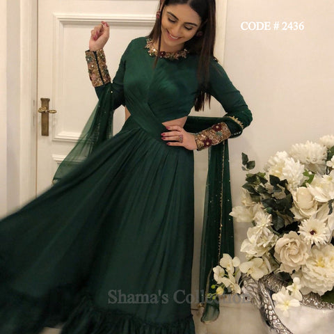 2436 Krystle D'Souza Bottle Green Cutout Drape Gown