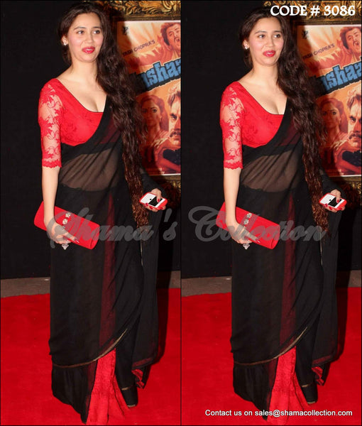 3086 Sasha Agha's red-black saree