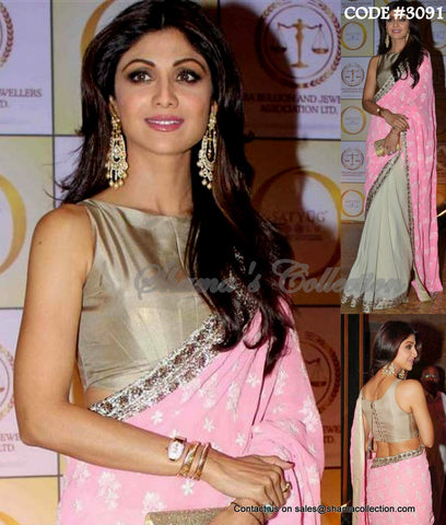 3091 Shilpa Shetty's baby pink and light grey half and half saree