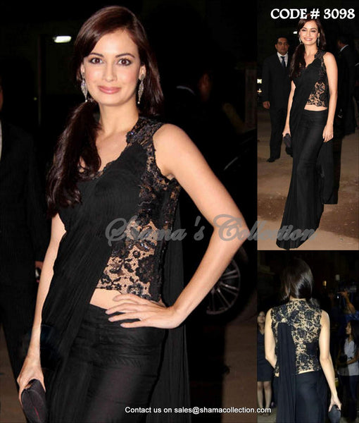 3098 Dia Mirza's black sareesque