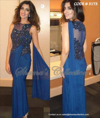 3173 Blue Saree Gown