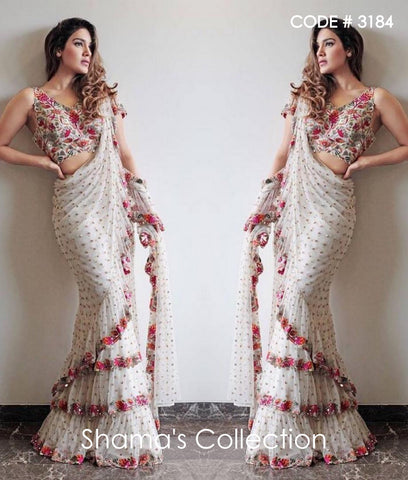 3184 White Sequin Ruffle Saree with Colorful Embroidery