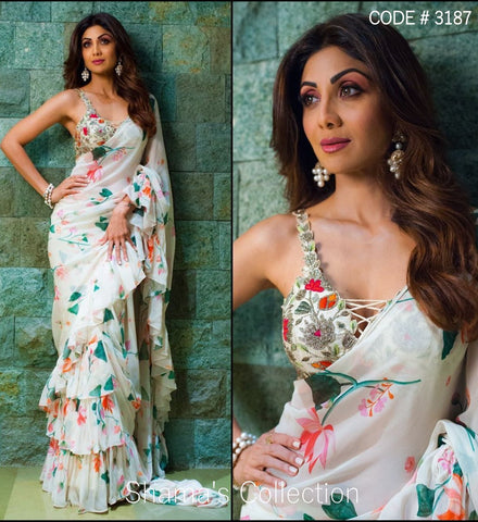 3187 Shilpa Shetty's Printed Off White Ruffle Saree