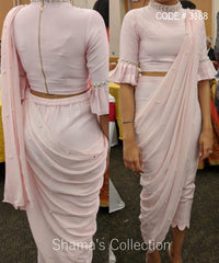 5097 Baby Pink Pants Drape Saree