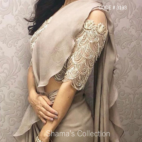3193 Taupe Ruffle Saree with Heavy Blouse