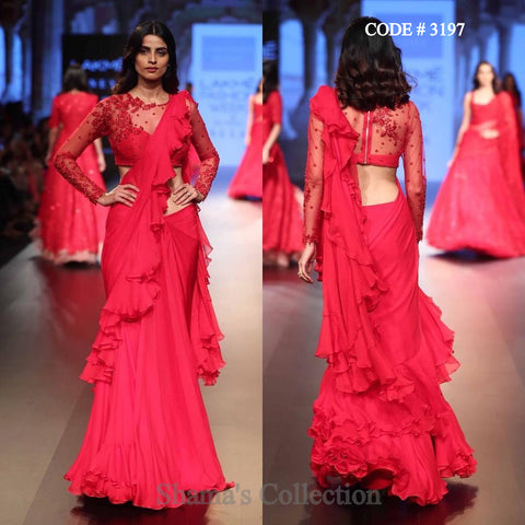 3197 Red Ruffle Sareegown Saree