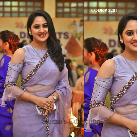 3201 Lavender Saree With Cold Shoulder Blouse