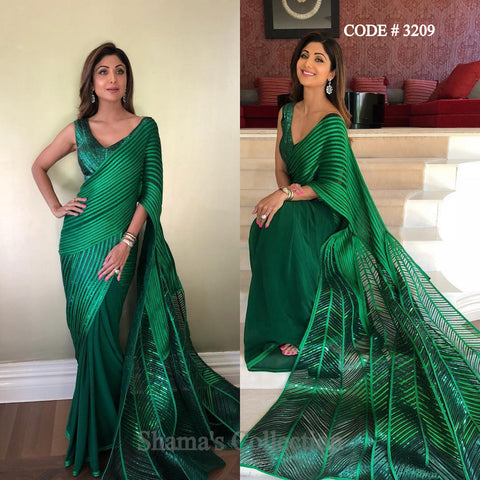 3209 Shilpa Shetty's Peacock Inspired Emerald Green Saree Gown
