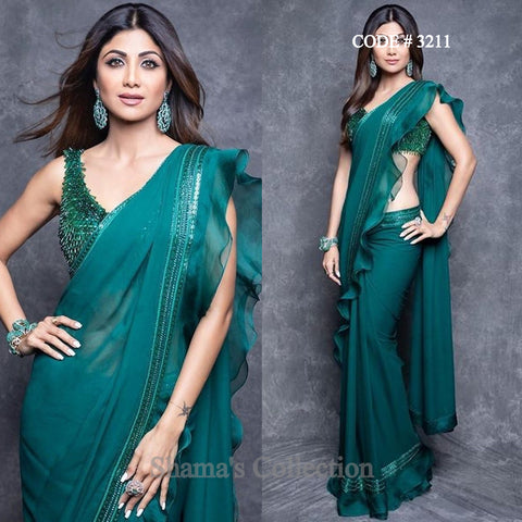 3211 Shilpa Shetty's Emerald Green Ruffle Saree With Fringe Blouse