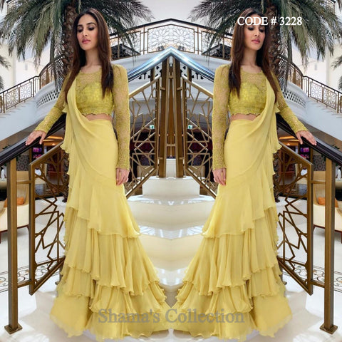 3228 Vani Kapoor's Greenish Yellow Ruffle Saree Gown