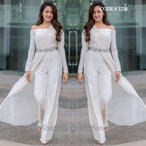 3236 Pragya Jaiswal's White Off the Shoulder Palazzo/ Jumpsuit Saree