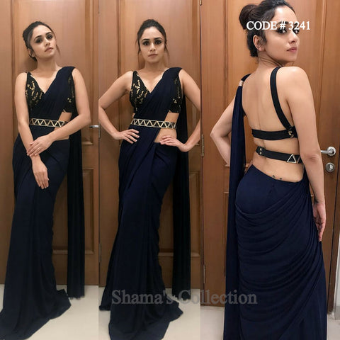 3241 Amruta Khanvilkar's Black Saree with Belt