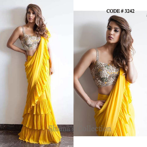 3242 Arpita Mehta Inspired Yellow Ruffle Saree