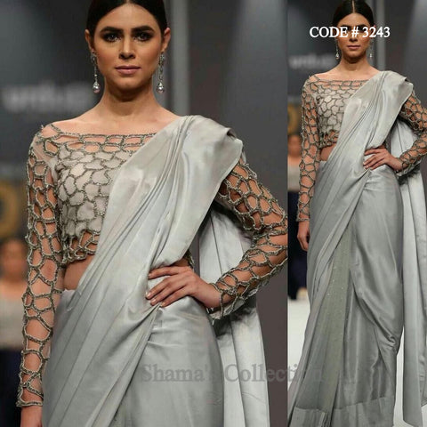 3243 Silver Saree With Cutwork Blouse