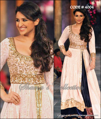 4004 Parineeti Chopra's Peach Blue Anarkali Lengha
