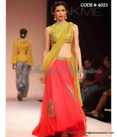 4021 Pear yellow-coral red lehenga