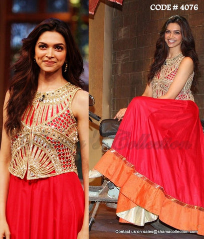 4076 Deepika Padukone's orange red anarkali gown and jacket