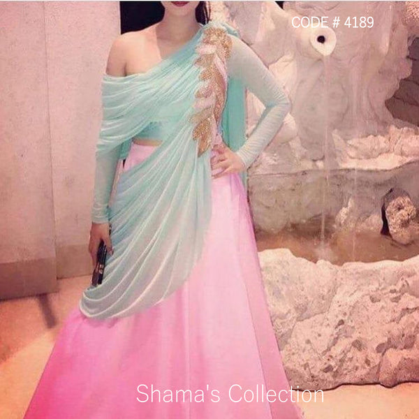 4189 Pink And Blue one Shoulder Drape lengha