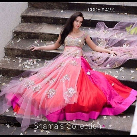4191 Anushree Reddy Inspired Pink Red Lacha - Anarkali Lengha