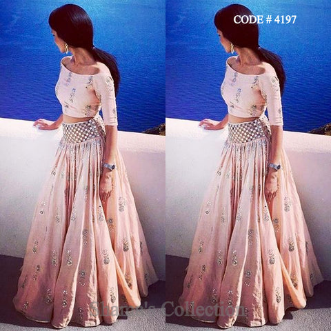 4197 Off Shoulder Blush Lengha (Payal Singhal Inspired)