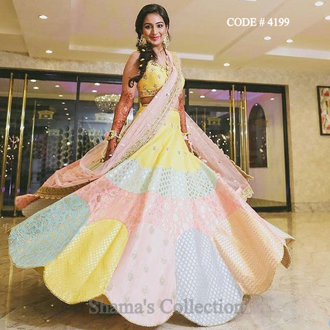 4199 Candy Color Brocade Lengha