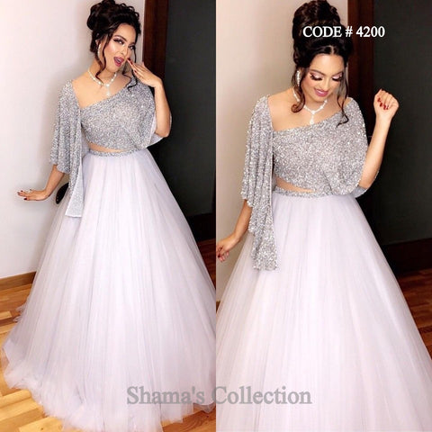 4200 Silver Drape Blouse And White Lehenga