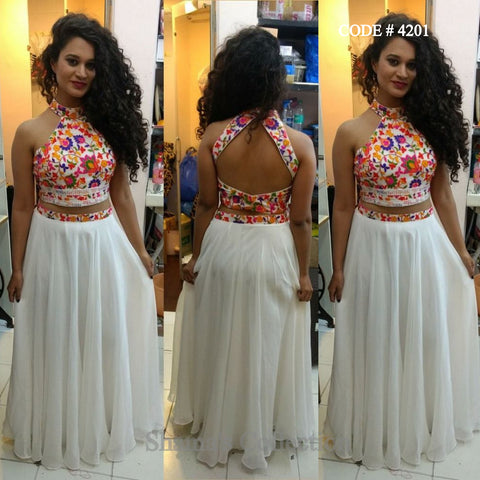 4201 White Lehenga With Colorful Halter Neck Blouse