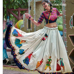 4203 White And Black Human Figure Lehenga