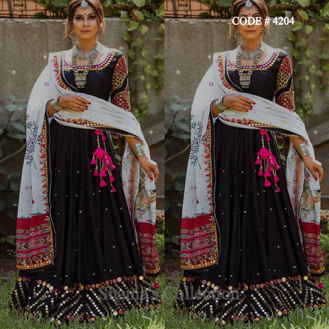 4204 Black And White Mirror Work Lehenga