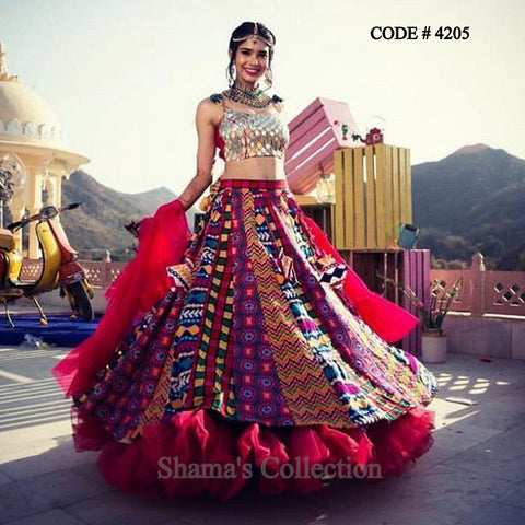 4205 Mirror Work Blouse And Colorful Lehenga With Ruffle Dupatta