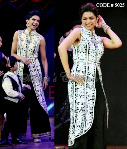 5025 Deepika Padukone's white-black high low top and palazzo