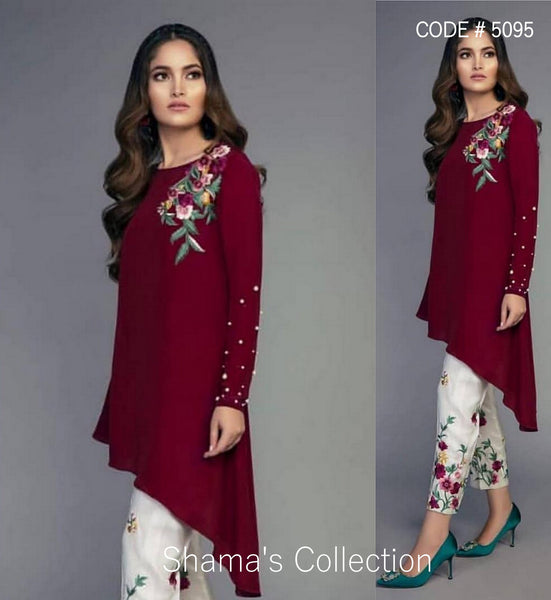 5095 Wine Kurti With White Pants