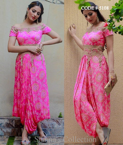 5108 Pink Bandhani Off Shoulder Dhoti Gown