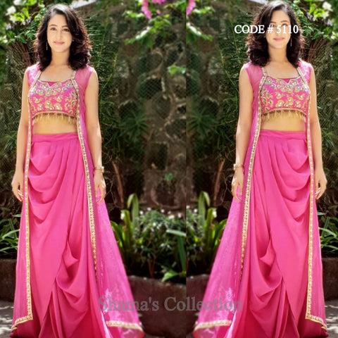 5110 Pink Fusion Wear - Set of Blouse, Drape Skirt and Jacket