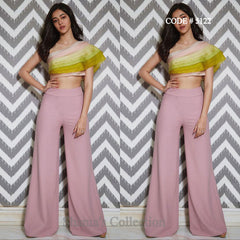 5122 Ananya Pandey's One Shoulder Ruffle Top In Candy Colors With Blush Pink Palazzo