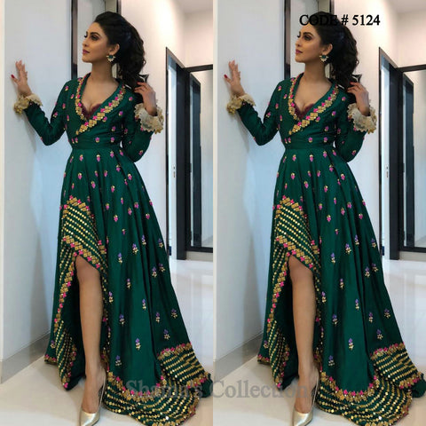 5124 Krystle Dsouza's Dark Green High Low Gown