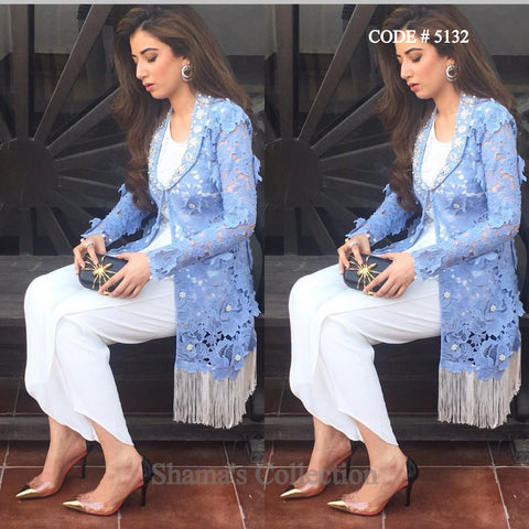 5132 White Blue Fusion Wear (Palazzo and Jacket)