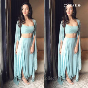 5139 Sky Blue Indowestern Three Piece (Top, Drape Skirt And Cape)