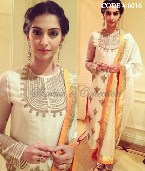 6016 Sonam Kapoor's off white-amber straight fit