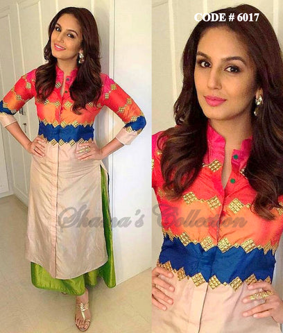 6017 Huma Qureshi's multicolor straight fit and palazzo
