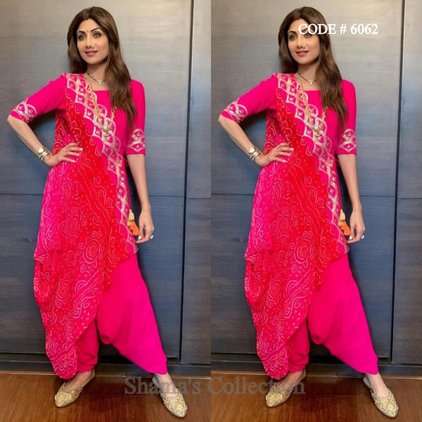 6062 Shilpa Shetty's Pink And Red Bandhani Drape Dupatta Patiala Suit