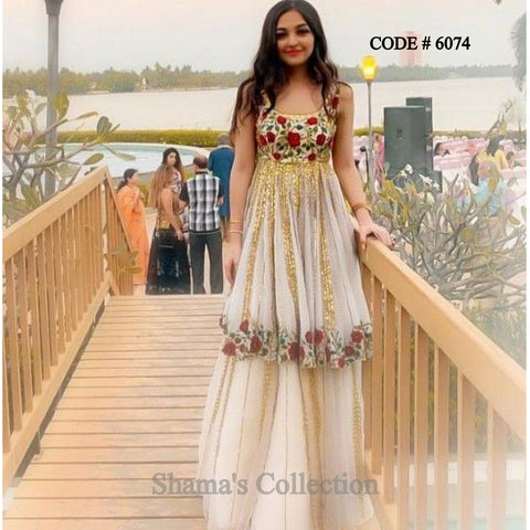 6074 Floral White Anarkali With Lehenga