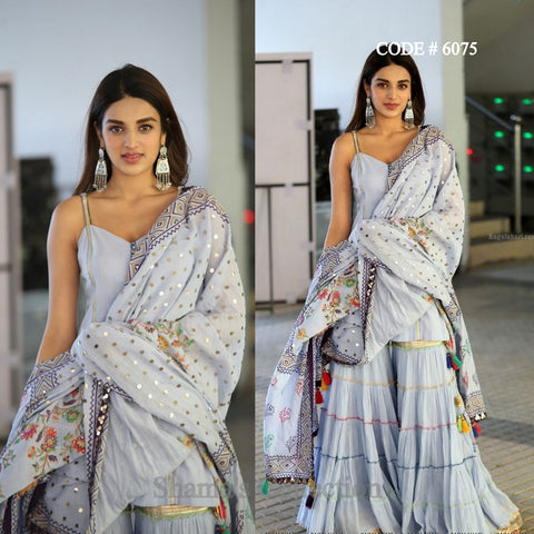 6075 Nidhhi Agerwal Grey Sharara