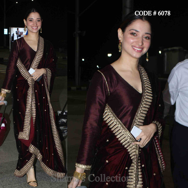 6078 Tamannah Bhatia in Brown Straight Fit Suit
