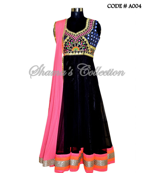 A004 Black mirror work anarkali
