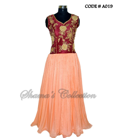 A019 Maroon-peach traditional gown