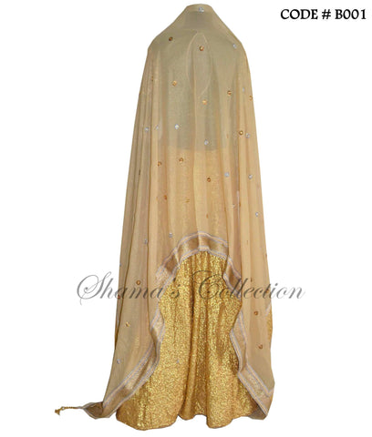 B001 Golden sequin and mehndi lehenga set