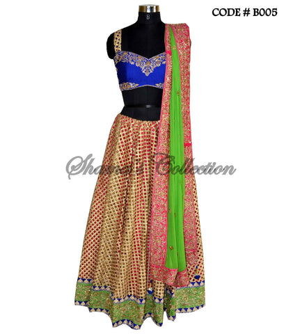 B005 Multicolor cutwork lehenga set