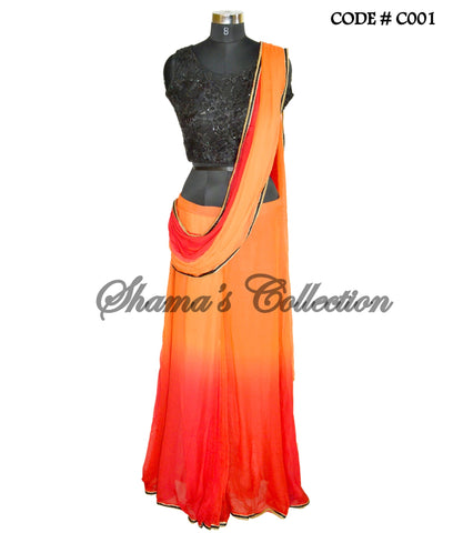 C001 Red-orange-black ombre sareesque